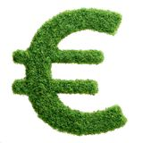 Green grass eco Euro currency symbol isolated Stock Photo
