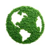 Green grass eco Planet Earth isolated. Grass growing in the shape of planet Earth. We need to protect the environment and reconnect with nature Royalty Free Stock Photography