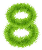 Green grass 8 Eight number isolated on white background Royalty Free Stock Photography