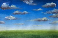 Green grass field, blue sky with clouds, oil painting, nobody, spring landscape, summer landscape, nature, skyline. Green grass field, blue sky with clouds, oil Stock Photography