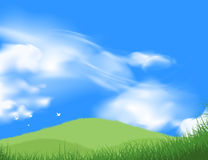 Green grass field with blue sky scene. Beautiful green grass field with blue sky scene vector nature landscape background Royalty Free Stock Images