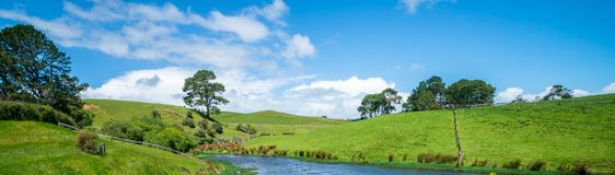 Green grass field in the countryside landscape. Peaceful British rural area scenery. Beautiful agriculture farmland and pasture grassland in the country Stock Image