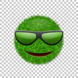Green grass field 3D. Face smile with sunglasses. Smiley grassy icon, isolated white transparent background. Ecology. Concept. Happy smiling sign. Symbol eco Royalty Free Stock Photo
