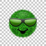 Green grass field 3D. Face smile with sunglasses. Smiley grassy icon,  white transparent background. Ecology. Concept. Happy smiling sign. Symbol eco lawn Stock Photos
