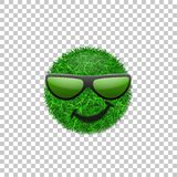 Green grass field 3D. Face smile with sunglasses. Smiley grassy icon,  white transparent background. Ecology. Concept. Happy smiling sign. Symbol eco lawn Royalty Free Stock Photos
