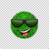 Green grass field 3D. Face wink smile with sunglasses. Smiley grassy emoticon icon isolated white transparent background. Happy smiling sign. Symbol ecology Stock Photography