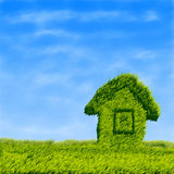 Green grass field house Royalty Free Stock Photography