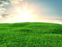Green grass field on small hills and blue sky with clouds. 3d illustration Royalty Free Stock Photos