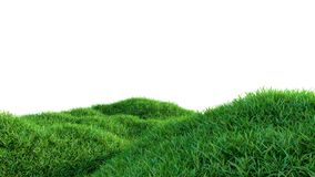 Green grass field on small hills, isolated. On white background. 3d illustration Stock Photography