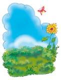 Green grass field summer view cartoon illustration. Decorative scenery viewof green meadow under the blue sky stock illustration