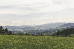 Green Grass Field Under Grey Clear Sky Overlooking Mountains stock photos
