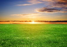 Green grass field under sunset sky in summer. Time Royalty Free Stock Images