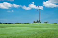 Green grass field with wind turbine for alternative energy blue Royalty Free Stock Photo