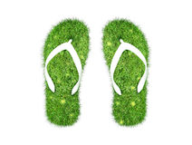 Green grass Flip-flops isolated Royalty Free Stock Photos