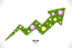 Green Grass and Flowers Arrow Isolated on White Background. 3D Vector Illustration of Eco and Bio Direction Symbol vector illustration