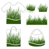 Green Grass with Flowers, Set Royalty Free Stock Images