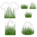 Green Grass with Flowers, Set Royalty Free Stock Photography