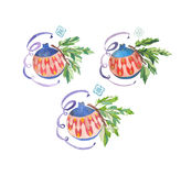 Watercolor illustration Christmas  toys balls. Watercolor illustration of New Year's toys Stock Images