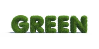 Green grass in the form of letters Stock Images