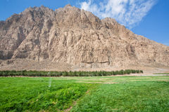 Green grass with fountains for irrigation in the mountain valley Royalty Free Stock Photo