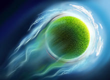 Green grass globe travel in space Stock Photos