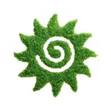 Green grass happy eco Sun isolated. Spring and summer concept. Grass growing in the shape of the Sun. We need to protect the environment and reconnect with Royalty Free Stock Image