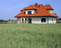 Green grass and hause. House on village in Poland. Green grass Stock Photography