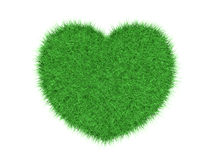 Green grass heart. On white background 3d render Stock Photography