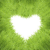 Green grass heart frame isolated on white Royalty Free Stock Photography