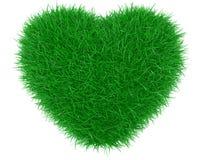 Green grass heart shape. Royalty Free Stock Photo