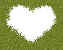 Green grass with heart shape frame Royalty Free Stock Photos