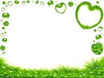 Green grass and hearts border Royalty Free Stock Photos