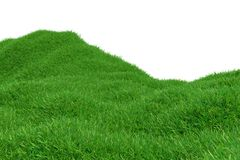 Green grass hill isolated on white background. Natural background. Outdoor abstract background. 3d rendering. Green grass hill isolated on white background royalty free illustration
