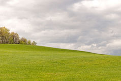 Green grass hill in Springtime with clouds. Upstate rural New York Stock Image