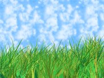 Green grass of home on blue. Cloudy sky - digital illustration royalty free illustration