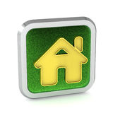 Green grass home button Stock Photos