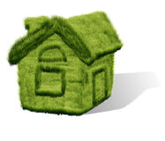 Green grass house Stock Photo