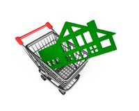 Green grass house in shopping cart, green building, 3D illustration stock photo