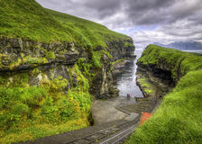 Green Grass of Iconic Place. Gjogv, Faroe islands, Denmark, Europe Stock Photography