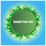 Green grass with inscription field. For design in advertising vector illustration