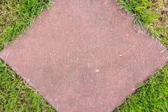 Green grass insert nearly brick floor Stock Photo