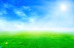 Green grass landscape. Beautiful beauty blue clear cloud cloudscape cloudy colorful royalty free stock photography