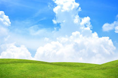 Green grass landscape. Beautiful beauty blue clear cloud cloudscape cloudy royalty free stock image