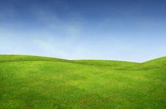 Green grass landscape. Beautiful beauty blue clear cloud cloudscape cloudy stock photography