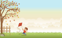 Green grass landscape with cartoon boy with a kite Royalty Free Stock Image