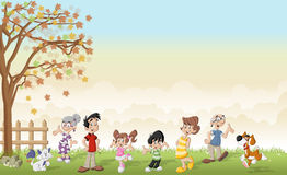 Green grass landscape with cartoon family with pets. Royalty Free Stock Image