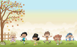 Green grass landscape with cartoon kids jumping. Royalty Free Stock Photo