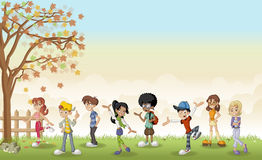 Green grass landscape with cartoon teenagers. Stock Photo