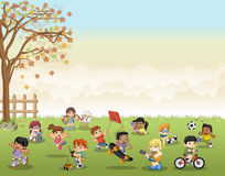 Green grass landscape with cute cartoon kids playing. Sports and recreation Stock Photography