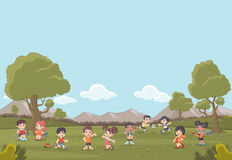 Green grass landscape with cute cartoon kids playing. Sports and recreation Royalty Free Stock Photography